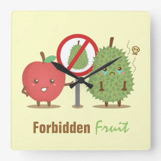 Funny Cartoon, Forbidden Fruit, Apple and Durian Square Wall Clock