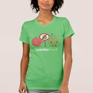 Funny Cartoon, Forbidden Fruit, Apple and Durian T-Shirt