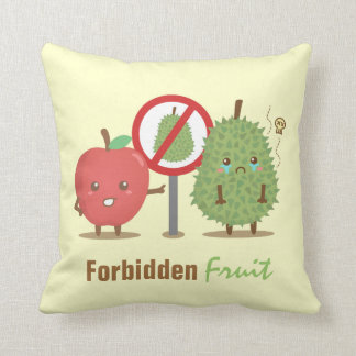 Funny Cartoon, Forbidden Fruit, Apple and Durian Throw Pillow