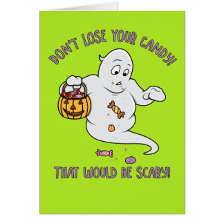 Funny Cartoon Ghost Halloween Card for Kids