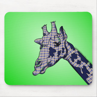 Funny Cartoon Giraffe With Patterned Skin Mouse Pad