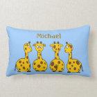 Funny Cartoon Giraffes on Blue Children's Custom Lumbar Cushion