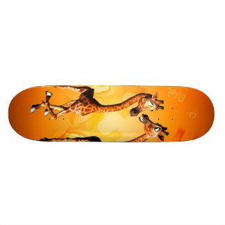 Funny cartoon giraffes skateboard decks