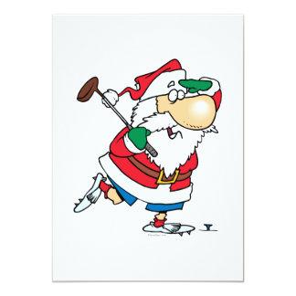 funny cartoon golfing golfer santa claus 13 cm x 18 cm invitation card