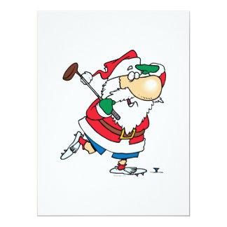 funny cartoon golfing golfer santa claus 17 cm x 22 cm invitation card