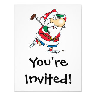 funny cartoon golfing golfer santa claus custom invitation