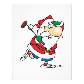 funny cartoon golfing golfer santa claus personalized announcements