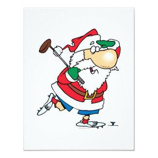 funny cartoon golfing golfer santa claus 11 cm x 14 cm invitation card