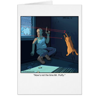 Funny Cartoon Greeting Card- Laser Cat Card