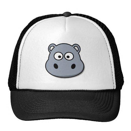 Funny cartoon hippo trucker hats