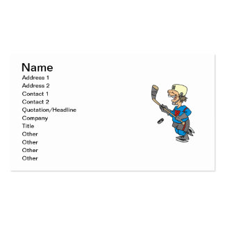Funny Cartoon Hockey Player T-shirts and Gifts Double-Sided Standard Business Cards (Pack Of 100)