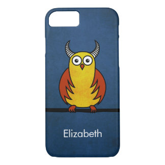 Funny Cartoon Horned Owl Name iPhone 7 Case