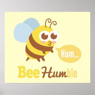 Funny Cartoon: Kawaii Yellow & Brown Bee Humming Poster
