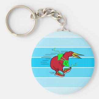 Funny Cartoon Kiwi Bird Wearing Red Running Shoes Basic Round Button Key Ring