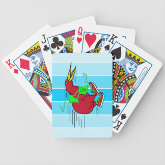 Funny Cartoon Kiwi Bird Wearing Red Running Shoes Bicycle Poker Cards