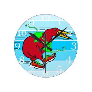 Funny Cartoon Kiwi Bird Wearing Red Running Shoes Wallclock