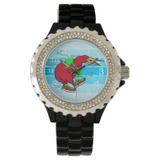 Funny Cartoon Kiwi Bird Wearing Red Running Shoes Watch
