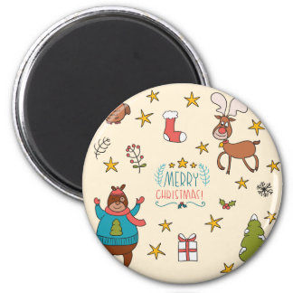 Funny cartoon Merry Christmas pattern Magnets