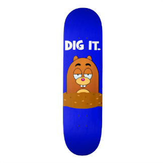 Funny Cartoon Mole Dig It Blue Skateboard