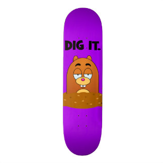 Funny Cartoon Mole Dig It Purple Skateboard