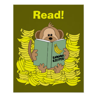 Funny Cartoon Monkey Reading Poster for Teachers