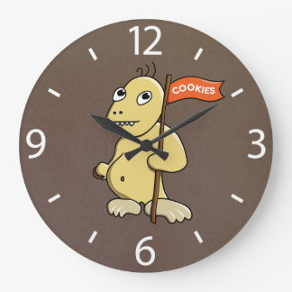 Funny Cartoon Monster With Cookie Wall Clocks