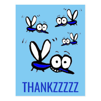 funny cartoon mosquito thank you thankzzz postcard