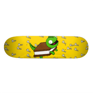 Funny Cartoon NoM NOM Lizard Purple Skateboard