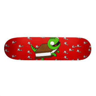 Funny Cartoon NoM NOM Lizard Red Skateboard