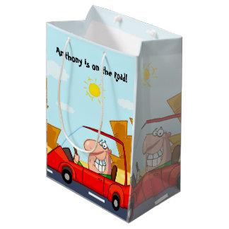 Funny Cartoon Passed Road Test Congratulations Medium Gift Bag