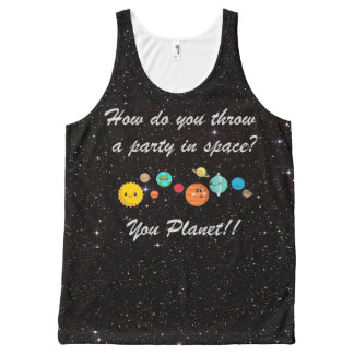 Funny Cartoon Planets in Space All-Over Print Singlet