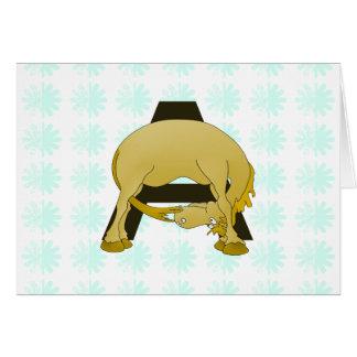 Funny Cartoon Pony Monogram A Greeting Card