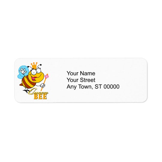 funny cartoon queen bee with text return address label