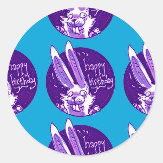 funny cartoon rabbit says happy birthday round sticker