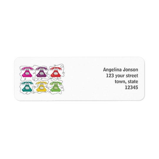Funny Cartoon Retro Phone Colourful Bright Stylish Return Address Label