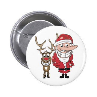 Funny Cartoon Santa and Rudolph 6 Cm Round Badge