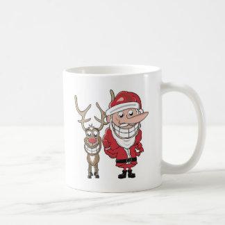 Funny Cartoon Santa and Rudolph Coffee Mug