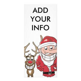 Funny Cartoon Santa and Rudolph Personalised Rack Card