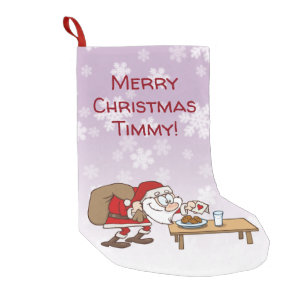 funny cartoon santa claus having cookies and milk small christmas stocking - Funny Christmas Stockings