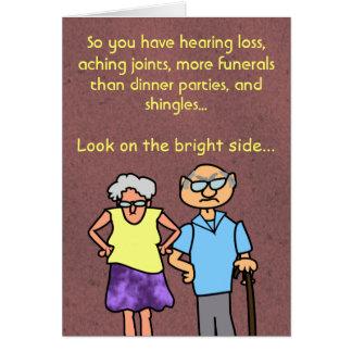 Funny Cartoon Seniors Discount Old Age Birthday Greeting Card