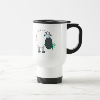 funny cartoon sheep with flower coffee mugs