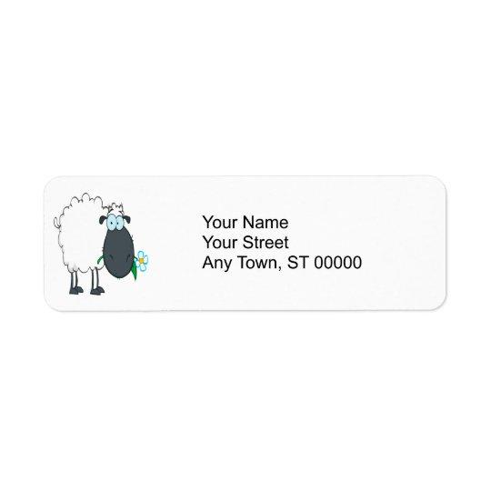 funny cartoon sheep with flower return address label