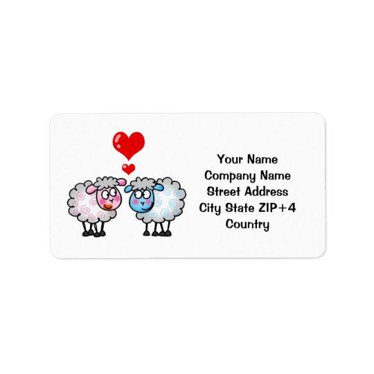 Funny cartoon sheeps, Wedding couple Address Label