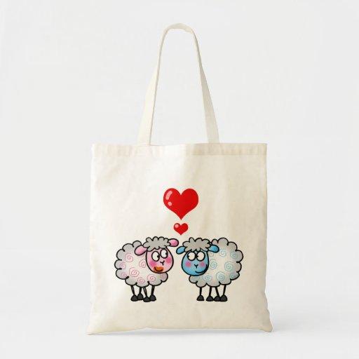 Funny cartoon sheeps, Wedding couple Tote Bag