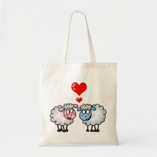 Funny cartoon sheeps, Wedding couple Budget Tote Bag