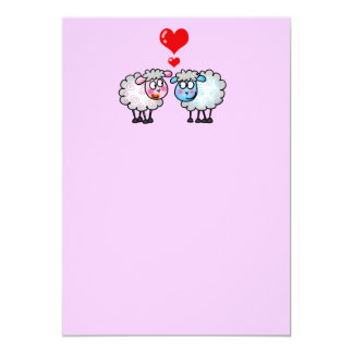 Funny cartoon sheeps, Wedding couple Card