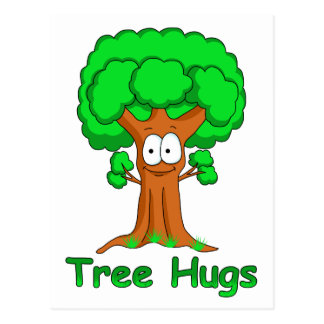 Funny Cartoon Tree Hugs Postcard