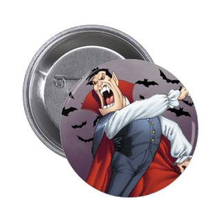Funny Cartoon Vampire with Bats by Al Rio Buttons