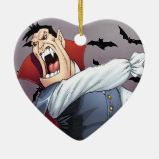 Funny Cartoon Vampire with Bats by Al Rio Ceramic Heart Decoration