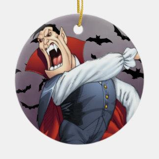 Funny Cartoon Vampire with Bats by Al Rio Christmas Tree Ornaments